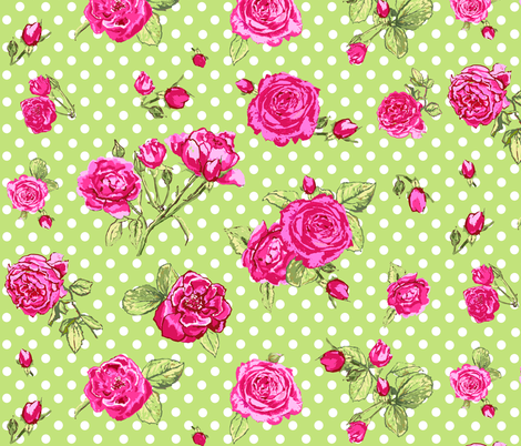 roses_on_green_dots fabric by katarina on Spoonflower - custom fabric