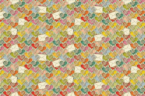 Love letters  fabric by cassiopee on Spoonflower - custom fabric
