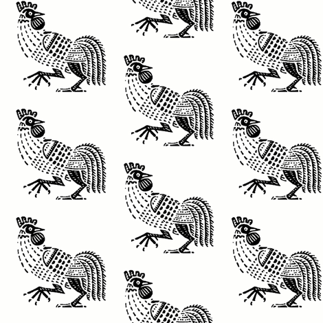 rooster strut black fabric by keweenawchris on Spoonflower - custom fabric