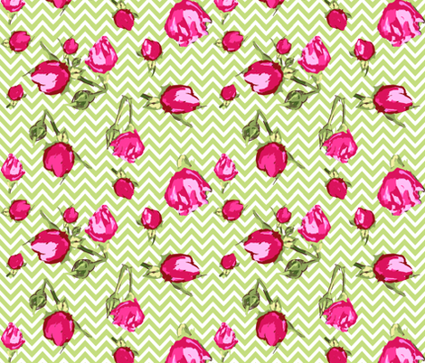 chevron buds roses floral fabric by katarina on Spoonflower - custom fabric