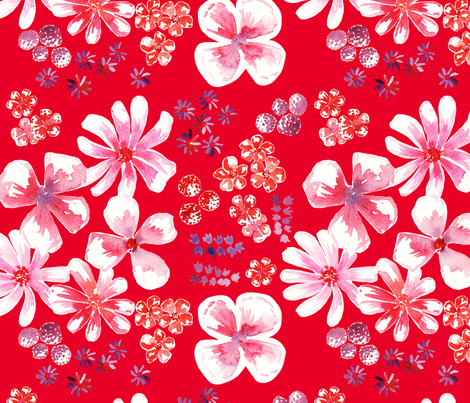 amélie fond rouge L fabric by nadja_petremand on Spoonflower - custom fabric
