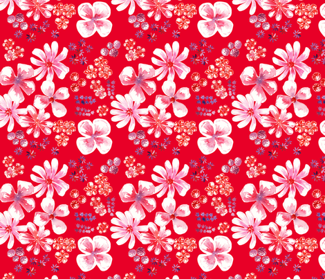 amélie fond rouge M fabric by nadja_petremand on Spoonflower - custom fabric