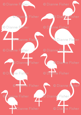 Flamingos in White on Dark Coral