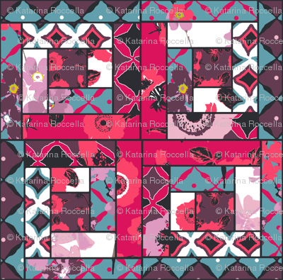 patchwork log cabin cheater quilt anemones