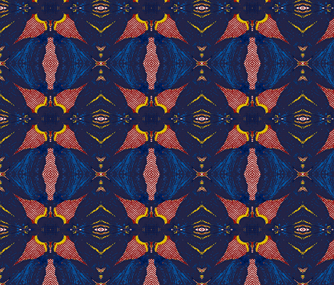 Night Bloomer, blue, red, goldenrod - large fabric by susaninparis on Spoonflower - custom fabric