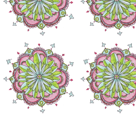 Stylized Floral Pattern on White fabric by artthatmoves on Spoonflower - custom fabric