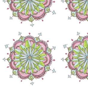 Stylized Floral Pattern on White