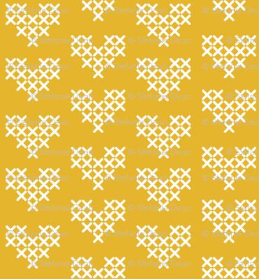 Cross Stitch Hearts - Yellow