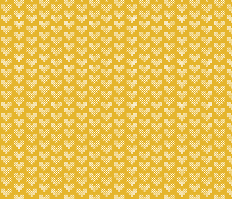 Cross Stitch Hearts - Yellow fabric by stefaniedean on Spoonflower - custom fabric