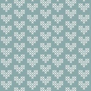 Cross Stitch Hearts - Blue