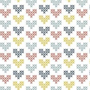 Cross Stitch Hearts - Multi