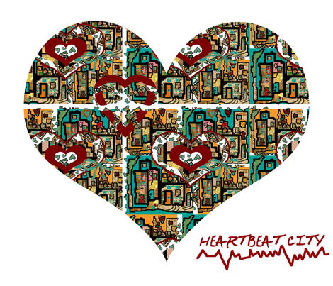 Heartbeat City with an ECG! (large scale repeat) fabric by anniedeb on Spoonflower - custom fabric