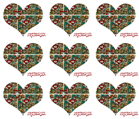 A Bird's Eye View of Heartbeat City (small scale repeat) fabric by anniedeb on Spoonflower - custom fabric