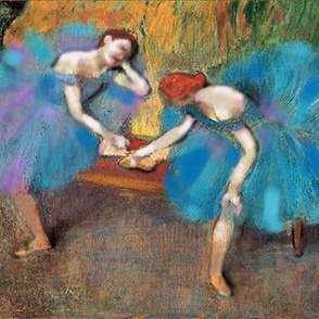 Degas Ballerinas Dancers in Blue, un-embellished