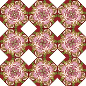 Fashionable Foxy European Pink Red Floral Mandala