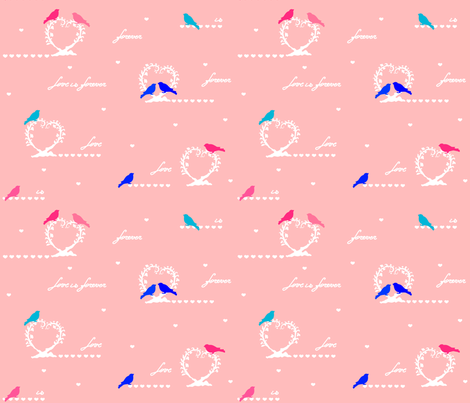 valentine_birdies_pink fabric by sharoncs on Spoonflower - custom fabric