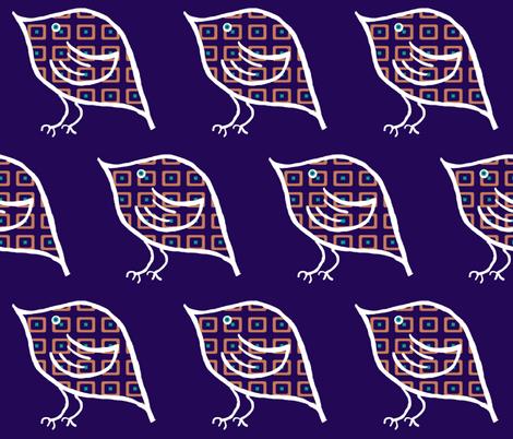 Birdie on Indigo fabric by anniedeb on Spoonflower - custom fabric