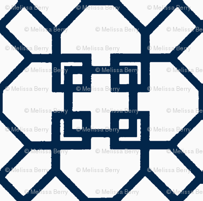 Lattice- Navy/White-Large