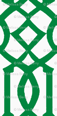 Imperial Trellis-Green/White-Reverse-Large