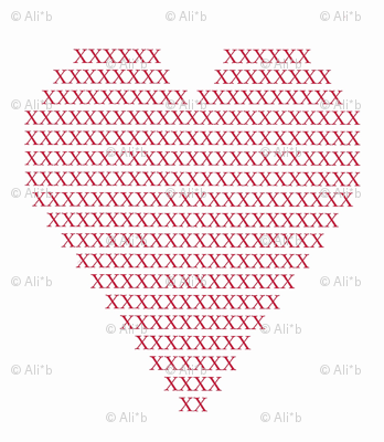 crosstitch red heart