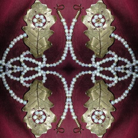 Oak Leaf and Pearls 2 fabric by ravynscache on Spoonflower - custom fabric