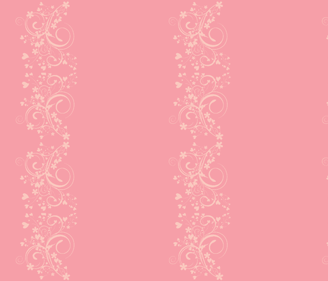 floral border - pastel pink fabric by mirromaru on Spoonflower - custom fabric