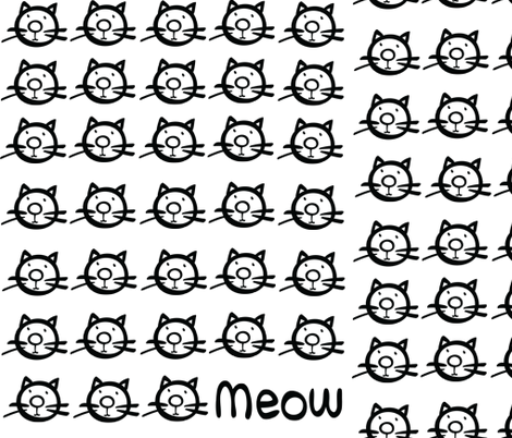 Meow kitty cats fabric by cutiecat on Spoonflower - custom fabric