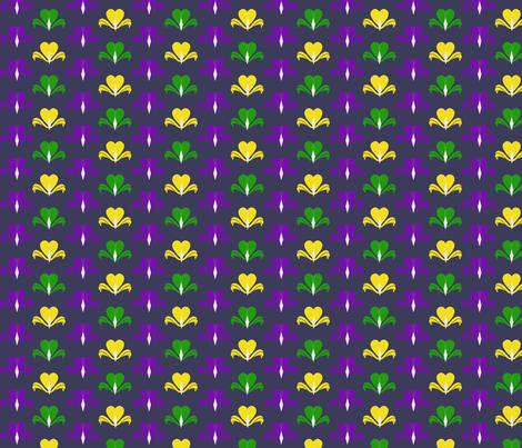 Fleur de Coeur - dark violet fabric by cricketswool on Spoonflower - custom fabric