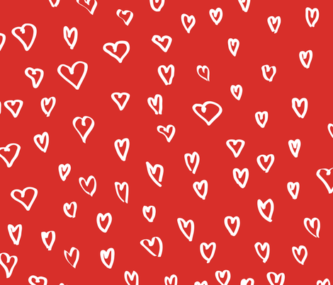 Small Hearts in Red by Friztin fabric by friztin on Spoonflower - custom fabric