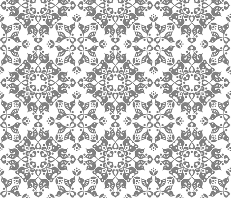 Freyja Forest -small grey on white fabric by bjornonsaturday on Spoonflower - custom fabric