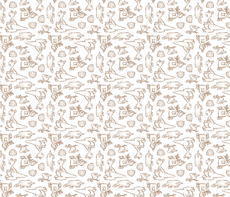 Aussie CRITTERS SCATTER brown fabric by gitchyville_stitches on Spoonflower - custom fabric