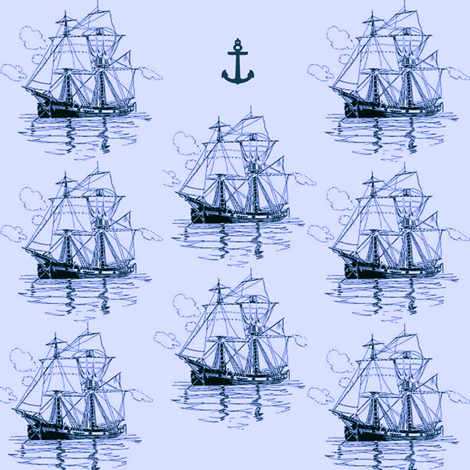 blue ships fabric by krs_expressions on Spoonflower - custom fabric