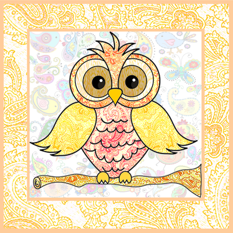 paisley owl large fabric by krs_expressions on Spoonflower - custom fabric
