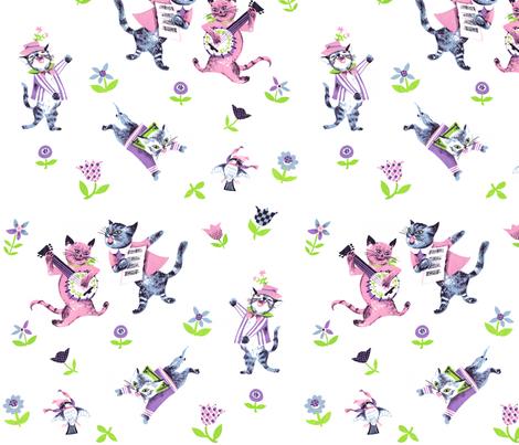 banjo cats fabric by debi_birkin on Spoonflower - custom fabric