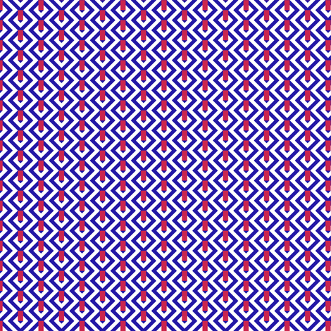 On the Mark   ---Blue and White with RedR fabric by fireflower on Spoonflower - custom fabric