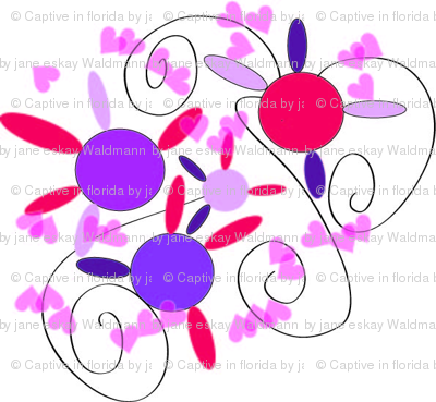 Valentine hearts and flowers