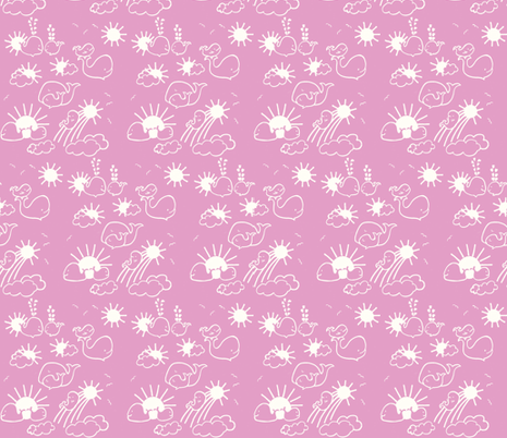 You Are My Sunshine Whales in Pink and White fabric by kbexquisites on Spoonflower - custom fabric