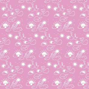 You Are My Sunshine Whales in Pink and White