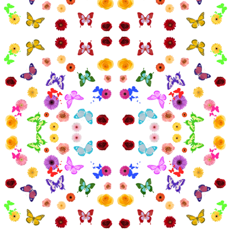 Butterflies and Flowers fabric by ravynscache on Spoonflower - custom fabric