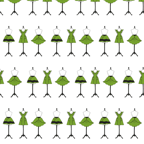 Vintage Aprons in green  fabric by carrie_narducci on Spoonflower - custom fabric