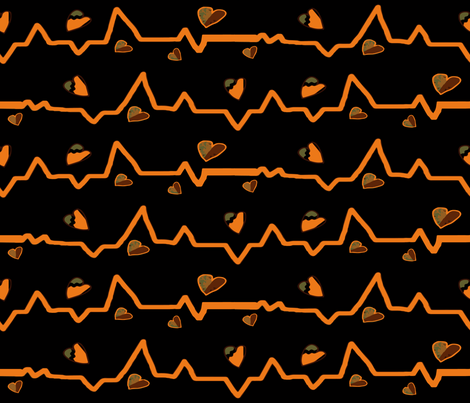 Heartbeat writ in orange fabric by anniedeb on Spoonflower - custom fabric