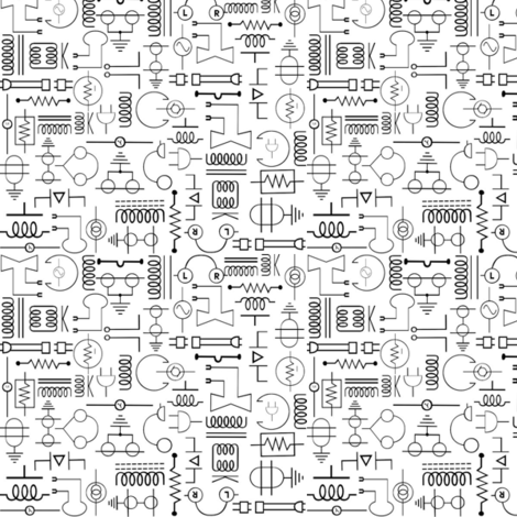 Electrical Symbols fabric - jabiroo - Spoonflower