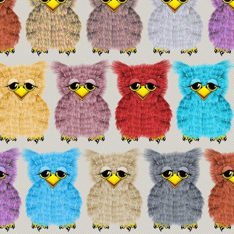 Fuzzy Owlettes fabric by glimmericks on Spoonflower - custom fabric