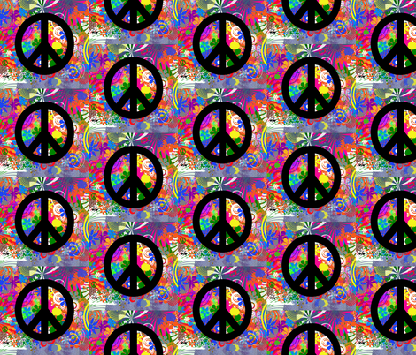 Peace in Retro fabric by nola_original on Spoonflower - custom fabric