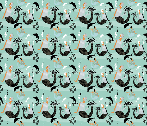 Mermaids (Aqua) Small Repeat fabric by chickoteria on Spoonflower - custom fabric