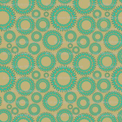 Dancing Dots aqua and beige