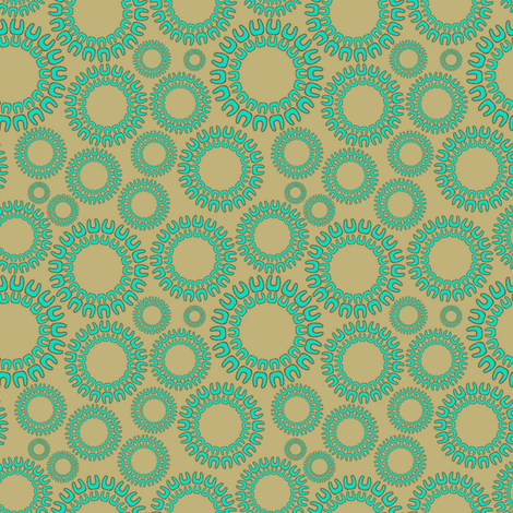 Dancing Dots aqua and beige fabric by joanmclemore on Spoonflower - custom fabric