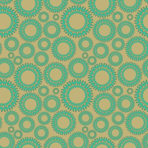 Dancing Dots aqua and beige
