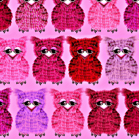 Fuzzy Pink Owlettes fabric by glimmericks on Spoonflower - custom fabric