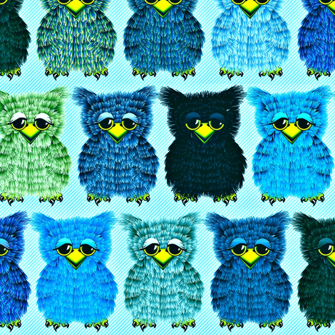 Fuzzy Blue Owlettes fabric by glimmericks on Spoonflower - custom fabric